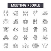 Meeting people line icons, signs set, vector. Meeting people outline concept illustration: team,person,people,business,meeting,teamwork