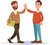 The meeting of two hipster guy friend and handshake raise high the hands. People interactions.
