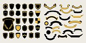 Mega a set of templates. Chevrons and ribbons for the design of logos, emblems and labels.