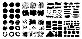 Mega collection of Hand drawn abstract black paint brush strokes, ribbon,box, wave, heart, round, oval, circle, rectangle, border. Vector set of shapes, frames isolated on white background.