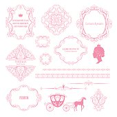 Mega set collections of vintage design elements. Royalty frames, borders, dividers, damask signs, carriage in pink color on white. Vector illustration. Can use for birthday card, wedding invitations.