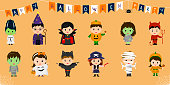 Mega set of Halloween party characters. Twelve cute children in different costumes for Halloween isolated on an orange background. Cartoon, flat, vector.