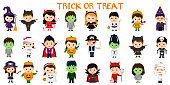 Mega set of Halloween party characters. Twenty four children in different costumes for Halloween on a white background . Cartoon, flat, vector.
