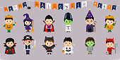 Mega set of Halloween symbols. Twelve pretty children in different costumes for Halloween isolated on a blue background. Cartoon, flat, vector.