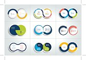 Mega set of two elements, steps chart, diagram, scheme. Circle, round design.