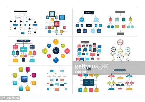 Mega set of various  flowcharts schemes, diagrams. Simply color editable : stock vector