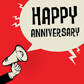 Megaphone Hand, business concept with text Happy Anniversary, vector illustration