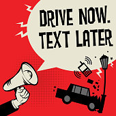 Megaphone Hand concept with car crash and text Drive Now, Text Later, vector illustration