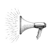 Megaphone hand drawing vintage style