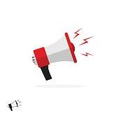 Megaphone icon isolated on white background, flat cartoon colorful bullhorn symbol, speaking trumpet illustration