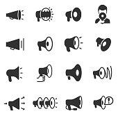 Megaphone. Monochrome icons set.  Megaphones of various shapes, simple symbols collection