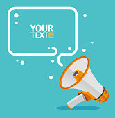 Megaphone text bubble card with place for your text. Flat.  Vector illustration