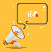 Megaphone text bubble card. Flat Design. Vector illustration