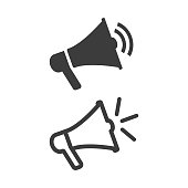 Megaphone icon on white background. Vector Illustration