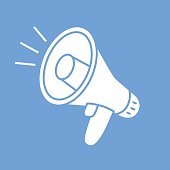 Megaphone vector on blue background icon.