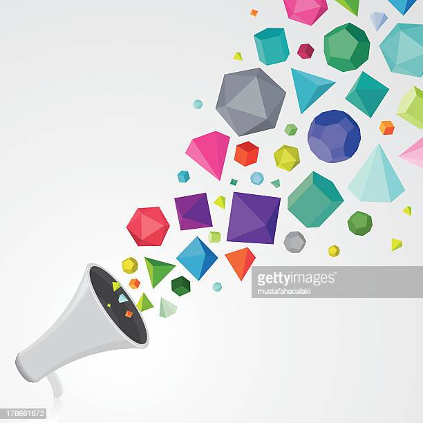 Megaphone with colourful gems