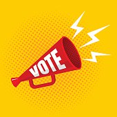 Vector vintage poster with megaphone with vote