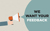 Megaphone with we want your feedback text. Retro style illustration. Survey and questionnaire concept. Horizontal composition.