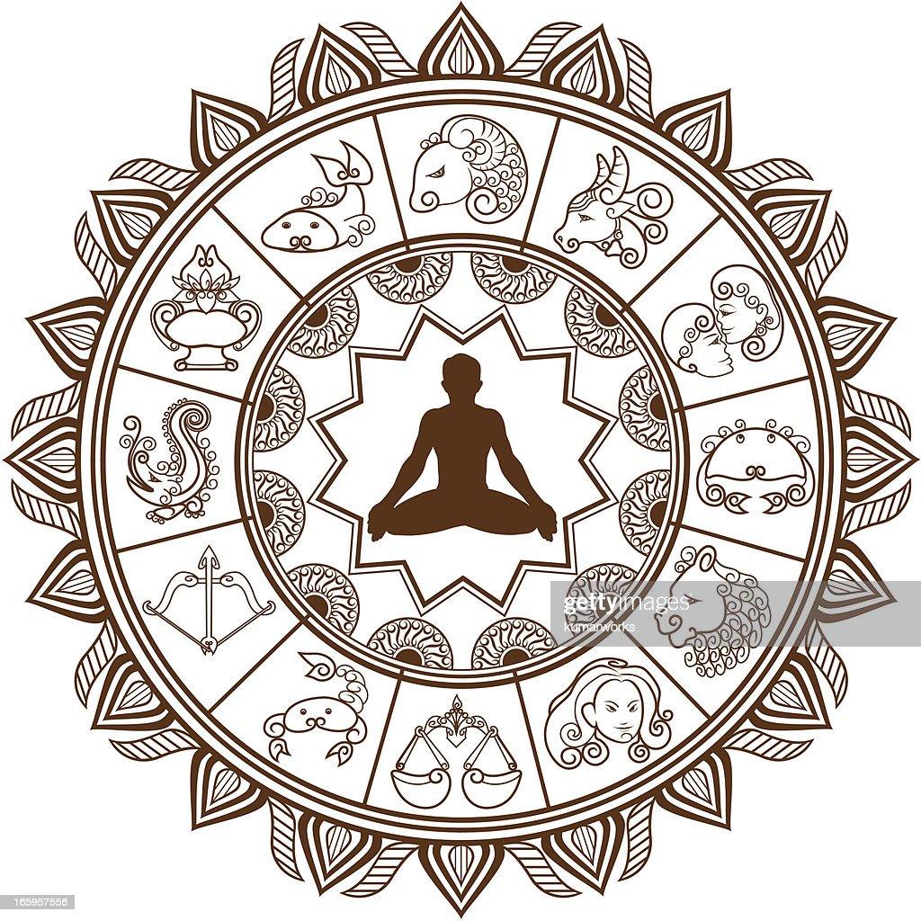 Zodiac Line Art : Mehandi zodiac signs vectorkunst getty images