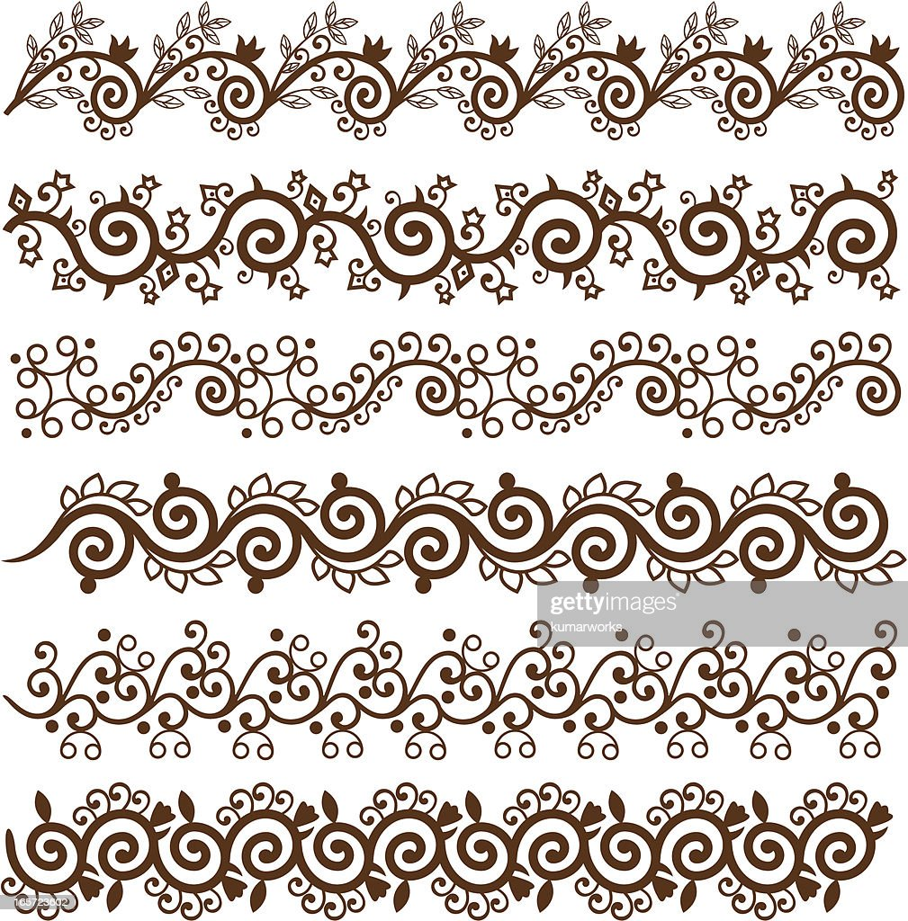 mehndi border design vector art getty images