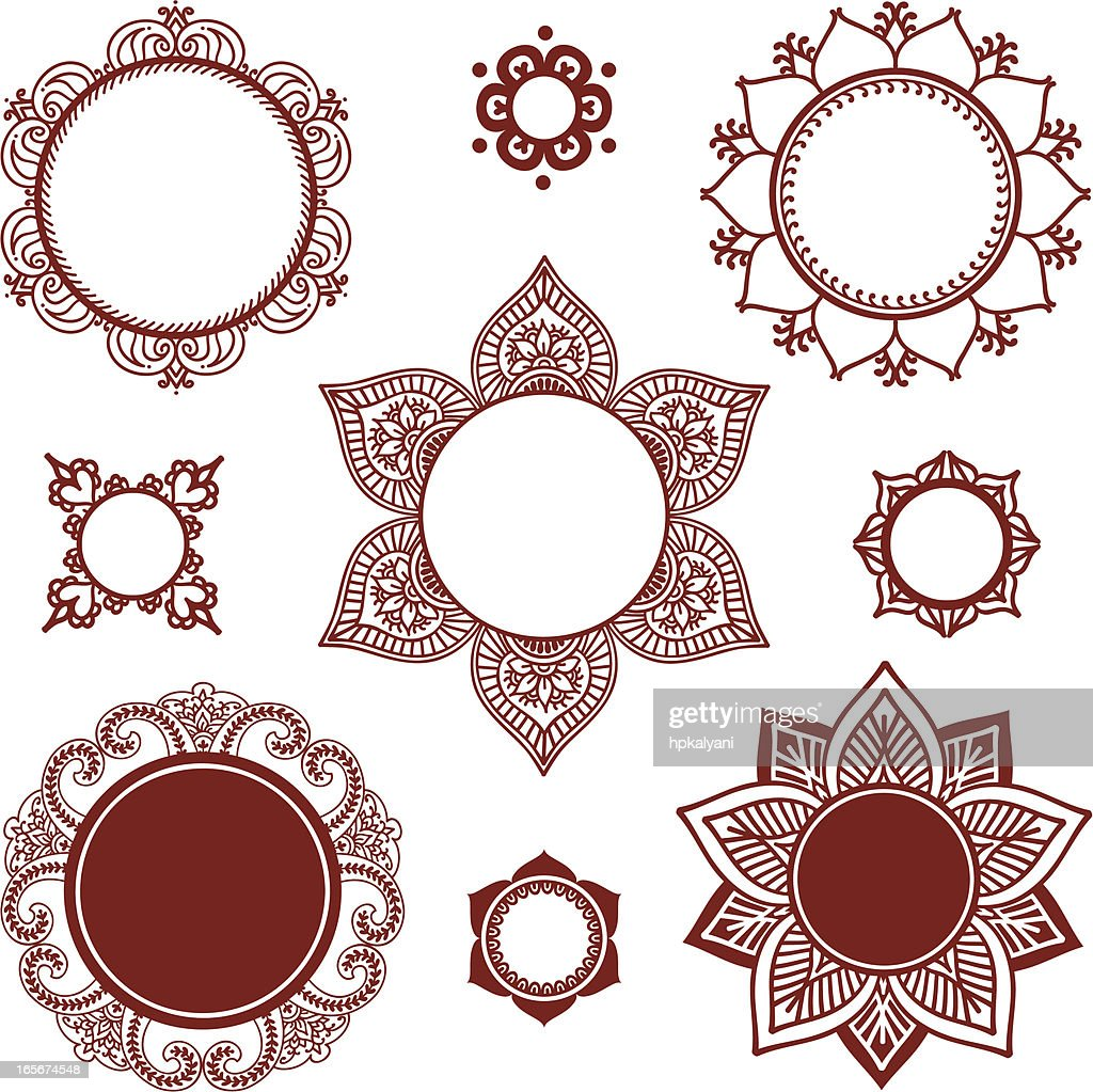 Mehndi Circle Vector : Mehndi circle frames vector art getty images