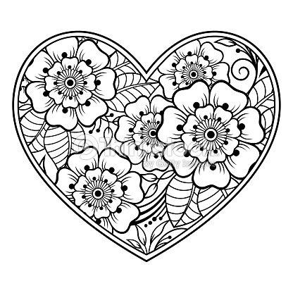 Patrón De Flores De Mehndi En Forma De Corazón Con Lotus Para Dibujo ...
