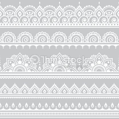 Mehndi Indian Henna Tattoo Seamless White Pattern On Grey Background