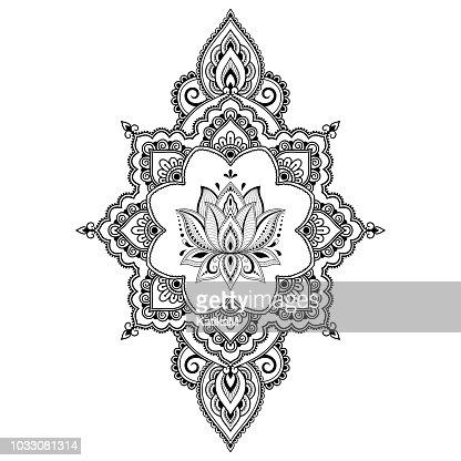 Motif De Fleurs De Lotus De Mehndi Pour Le Dessin De Henné Et De