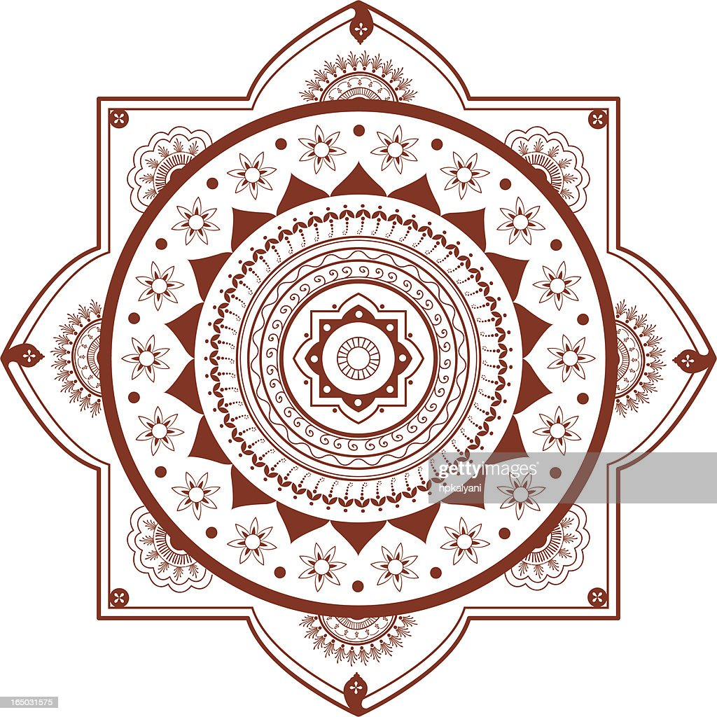 Mehndi Mandala Vector : Mehndi mandala vector art getty images