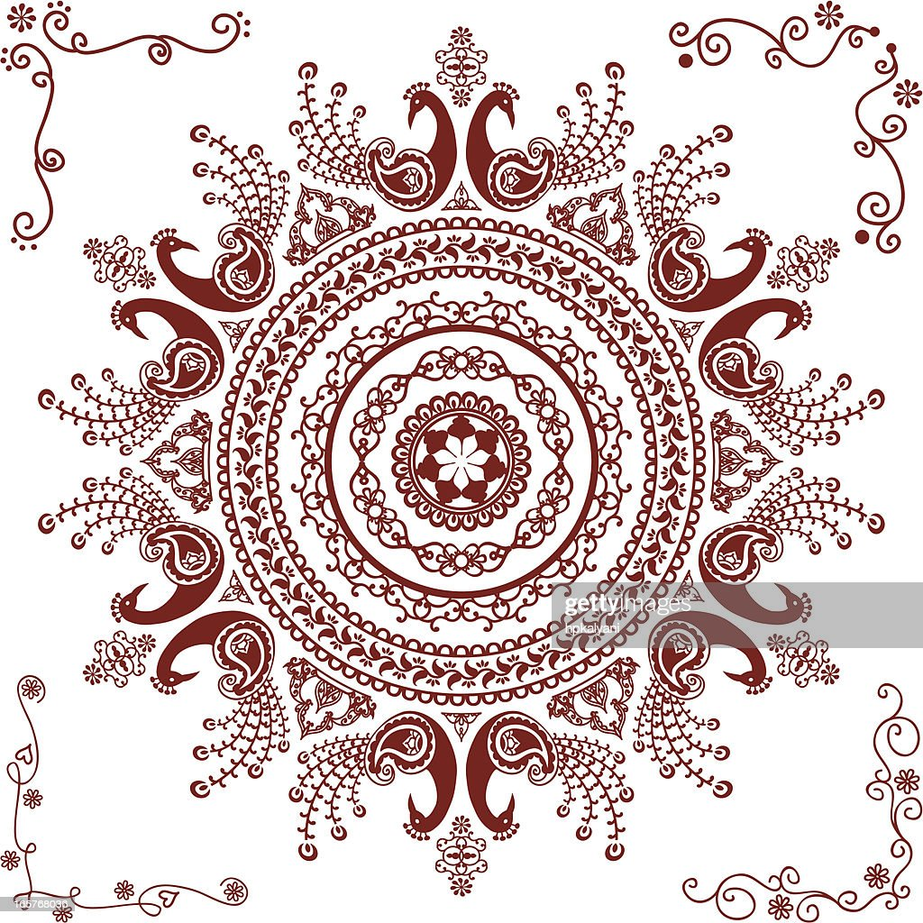 Mehndi Circle Vector : Mehndi peacock circle design vector art getty images