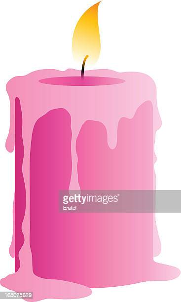 Melting pink candle in vector graphic