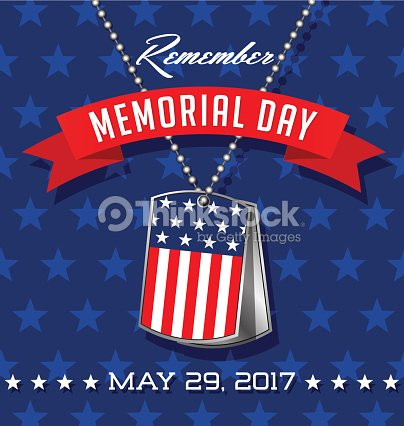 7697447046bf Memorial Day card or banner design. Soldier s dog tags with American flag.