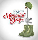 memorial day card with rifle war vector illustration design