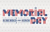 US Memorial Day greeting card. Text made of interlaced ribbons with USA flag's stars and stripes. Vector illustration.