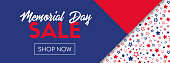 Memorial day sale vector banner. Online shopping template