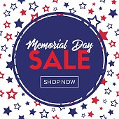Memorial day sale. Vector banner template with stars pattern and round frame