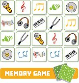 Memory game for preschool children, vector cards with musical objects
