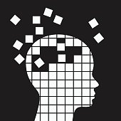 Memory loss, neurological problems concept vector illustration.