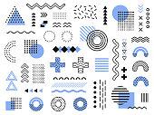 Memphis design elements. Retro funky graphic, 90s trends designs and vintage geometric print illustration element. Constructivism memphis vector isolated symbols collection