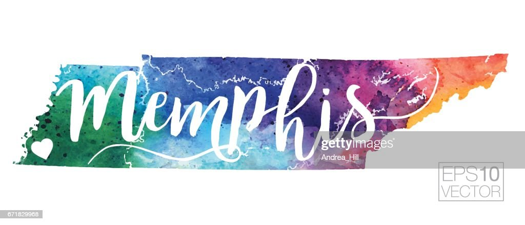Memphis Tennessee Usa Vector Watercolor Map Vector Art Getty Images - Usa map memphis