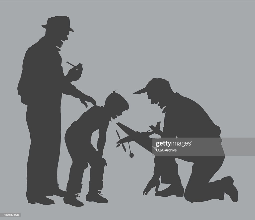 Men and Boy With Toy Plane : Vector Art