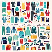 Clothes and accessories Fashion icon set. Men and women clothes vector icon set.