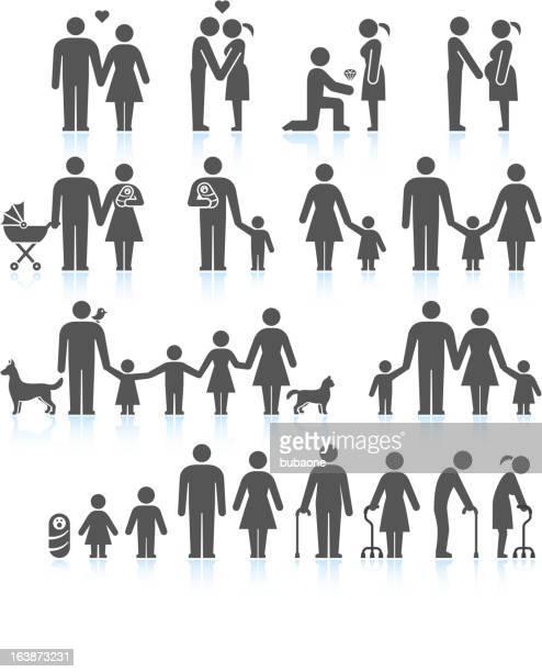 Men and women Family Life black & white icon set