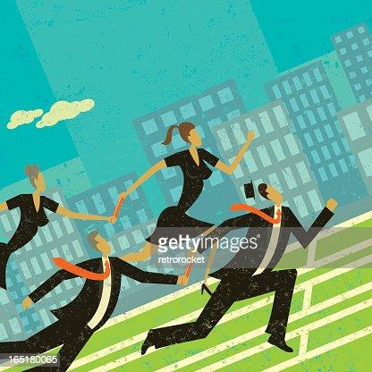 Men and women in business formal wear passing baton : Vector Art