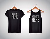 Men black tank top and t-shirt. Realistic mockup whit brand text for advertising. Short sleeve T-shirt template on background.