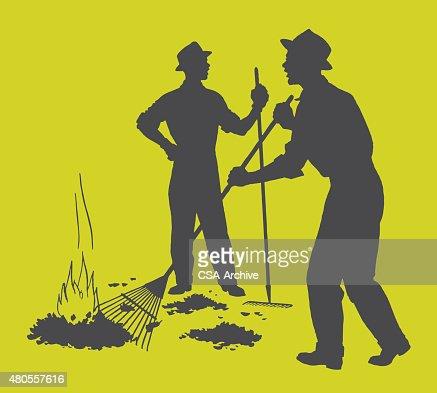 Men Burning Leaves : Vector Art