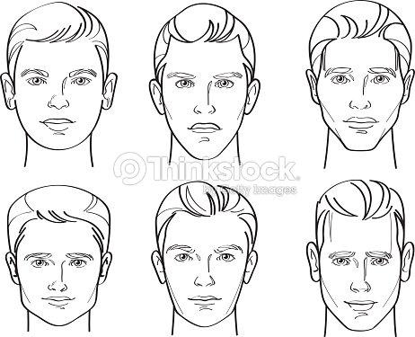 Men Face Shape Line Drawing Illustration Stock Vector