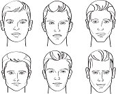 Line Drawing Illustratio of Six Different Types of Male Face Shapes