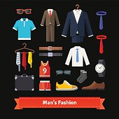 Men fashion colourful flat icon set. Apparel, suits, shirts, shoes and accessories. Retail store assortment. EPS 10 vector.