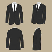 vector illustration of a men fashion, suit uniform, back side view of jacket